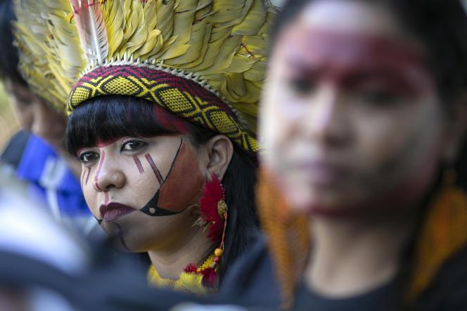 Des femmes indigènes manifestant devant le ministère de l'agriculture brésilien, à Brasilia, le 31 janvier 2019.