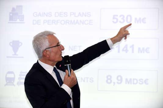 Le PDG de la SNCF, Guillaume Pepy, lors de la présentation des résultats financiers du groupe pour 2018, le 28 février, à Saint-Denis (Seine-Saint-Denis), près de Paris.