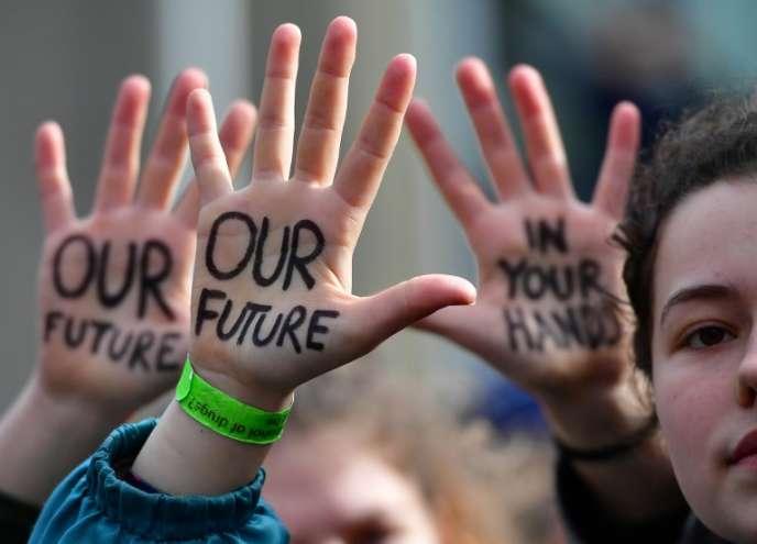 Manfestation d'étudiants, à Bruxelles, en faveur de l'environnement, le 21 février 2019.