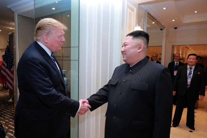 Le leader nord-coréen KimJong-unet le président américain DonaldTrumplors de leur rencontre à Hanoï, le 28 février.