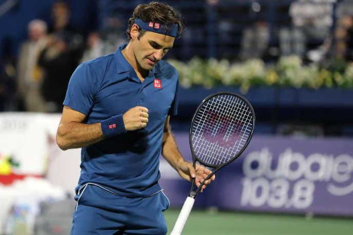 Roger Federer lors de la finale face à Stefanos Tsitsipas, à Dubaï, le 2 mars.