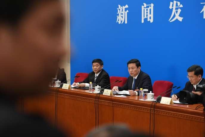 Guo Weimin, porte-parole de la Commission consultative politique du peuple chinois, à Beijing, le 2 mars.