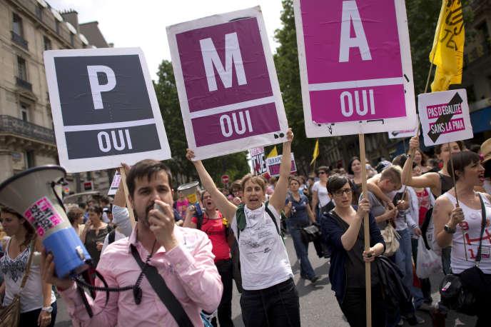 Des manifestants de la Gay Pride de 2013 affichent leur soutien à la procréation médicalement assistée (PMA).