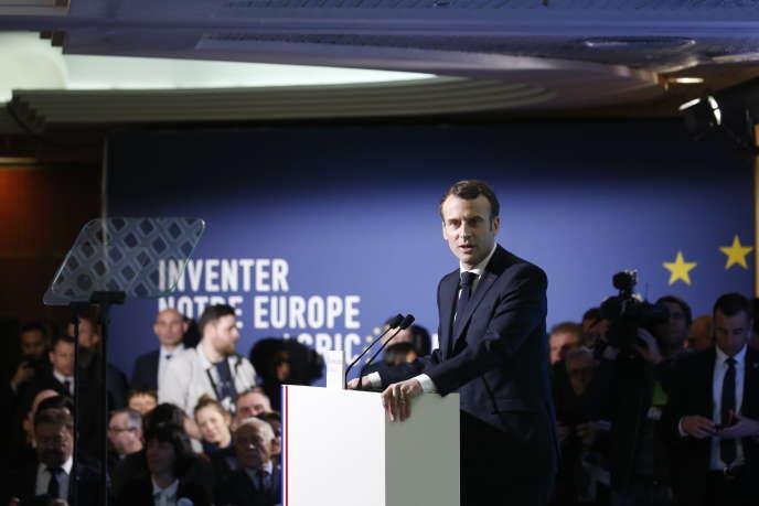 Emmnuel Macron lors d'un discours au Salon de l'Agriculture, à Paris, le 23 février.