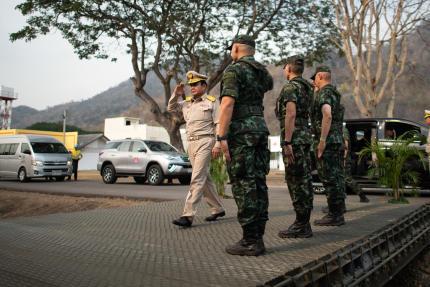 Le premier ministre thaïlandais Prayuth Chan-o-cha lors d'un exercice militaire sur la base de Lopburi, le 14 février.