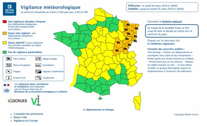 Alerte aux vents violents lancée par Météo France pour le lundi 4 mars.