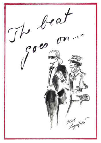 Clin d'oeil discret au créateur, un dessin de sa plume où il apparaît aux côtés de Coco Chanel était glissé dans le dossier de presse remis sur place. Avec la mention «The beat goes on», signe que Chanel mise sur la continuité.