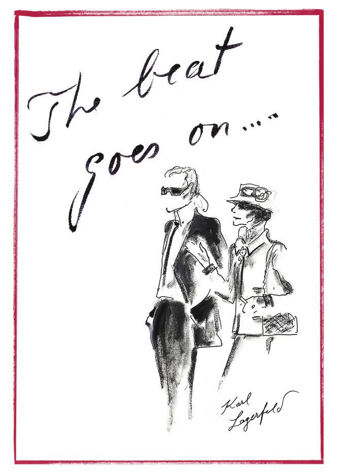 Ce dessin de Karl Lagerfeld, un autoportrait avec Gabrielle Chanel, a été remis à chaque invité.