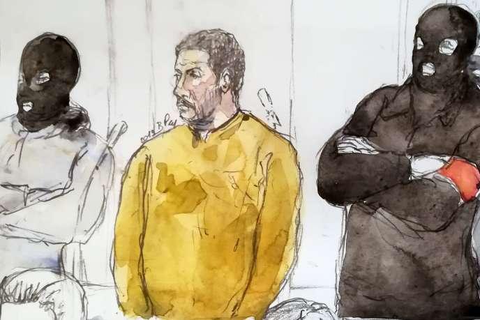 Un croquis judiciaire, réalisé le 10janvier 2019, montrant Mehdi Nemmouche lors de son procès à Bruxelles, en Belgique.