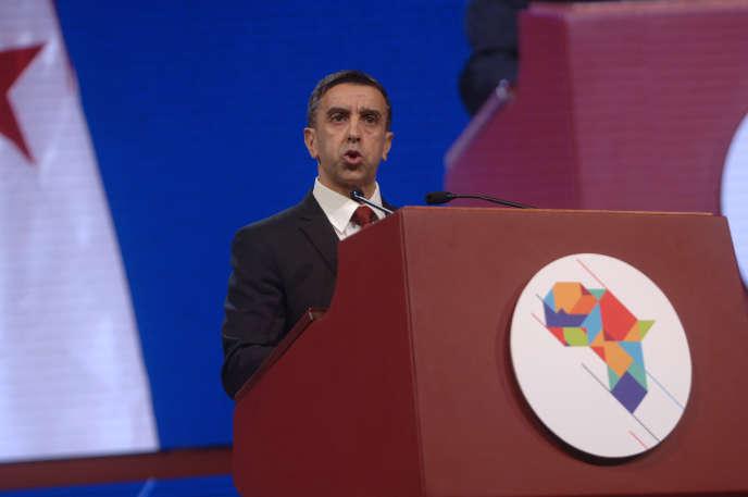 Le magnat algérien Ali Haddad, patron du premier groupe de BTP du pays et président du Forum des chefs d'entreprise, à Alger, en décembre 2016.