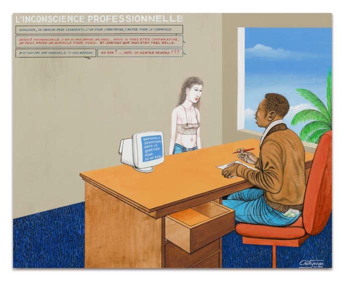 «L'Inconscience professionnelle» (1996), du peintre congolais Chéri Samba. Acrylique sur toile. Estimation: 7000‒ 10000 euros. Vente en ligne du 15 au 25 mars par Sotheby's.
