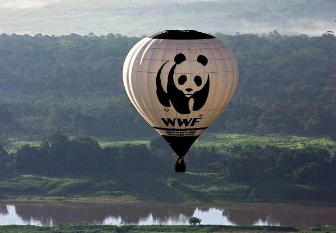 Une montgolfière décorée du panda, image de marque duFonds mondial pour la nature(WWF), au Brésil, en novembre2006.