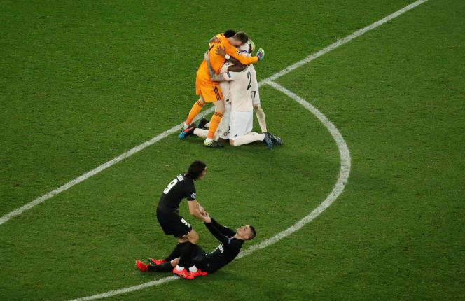 La joie des Mancuniens après leur qualification en quarts de finale de la Ligue des champions.