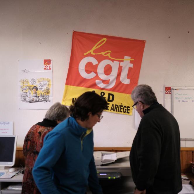 L'Union Locale de la CGT à Saint-Girons (Ariège), le lundi 18 février.