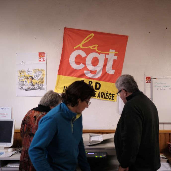 A l'union locale de la CGT à Saint-Girons (Ariège), le 18 février.