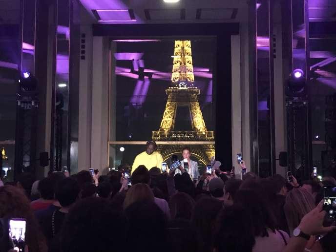 Au Palais de Chaillot à Paris, fête de lancement d'une collaboration entre Evian et Virgil Abloh.