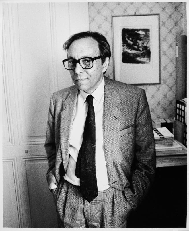 Jean Starobinski chez lui, à Genève, en juillet 1990.