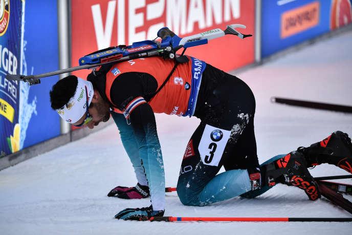Martin Fourcade à l'issue de l'épreuve demass start à Antholz/Anterselva (Italie), en janvier 2019.