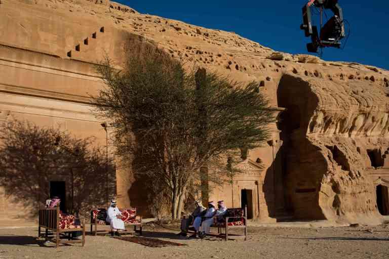 Al-Ula, Saudi Arabia – 01, February, 2019.       An Emarati television's program is filmed live with Mada'in Saleh in the background.