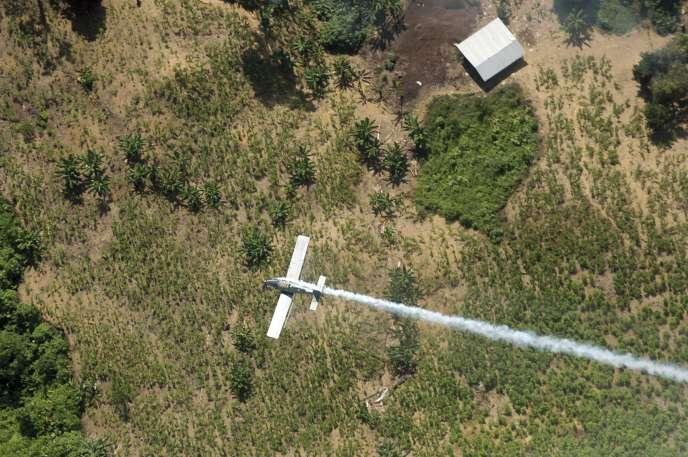 Un avion vaporisant des pesticides sur un champ de coca à El Tarra, Colombie.