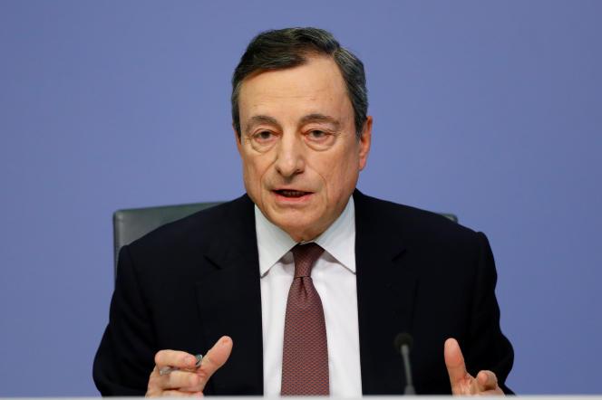 Lors de la conférence de presse du président de la BCE, Mario Draghi, à Francfort, jeudi 7 mars.