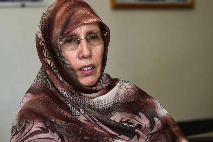 Aminetou Mint El Moctar, présidente de l'Association des femmes cheffes de famille, à Nouakchott, en Mauritanie, le 28janvier 2019.