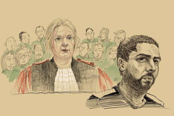 Croquis d'audience représentant la juge Laurence Massart et Mehdi Nemmouche au tribunal de Bruxelles, le 3 mars.