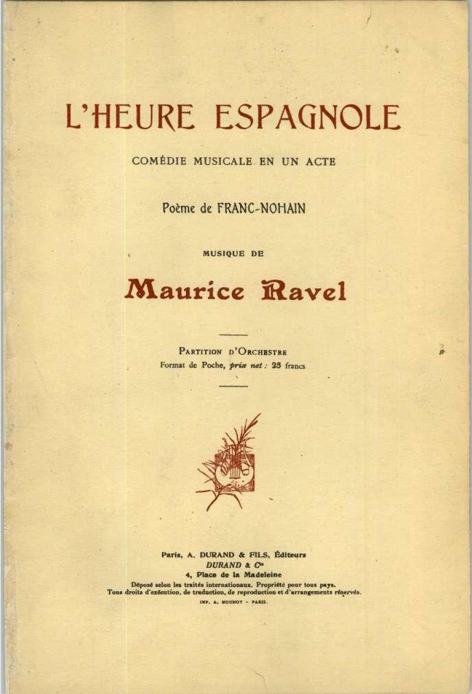 Couverture de la partition d'orchestre de« L'Heure espganole», de Maurice Ravel.