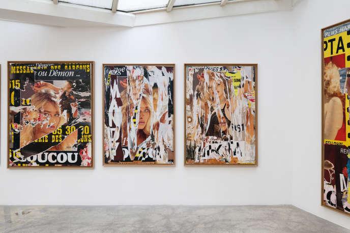 Vue de l'exposition consacrée à Jacques Villeglé, «Jeune, gay et impudique» à la galerieGeorges-Philippe & Nathalie Vallois (Paris 6e).