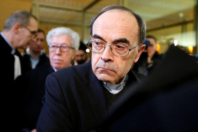 Le cardinal Philippe Barbarin, ancien archevêque de Lyon, lors de son procès au tribunal de Lyon, le 7 janvier 2019.