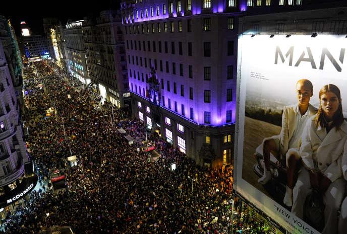 Marche à Madrid (Espagne), à l'occasion de la « grève féministe» pour laJournée internationale des droits des femmes, vendredi 8mars2019.