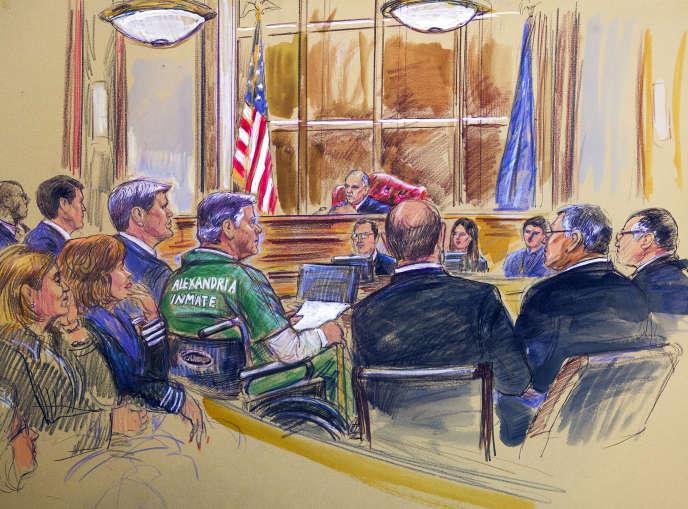 Croquis d'audience de l'ancien directeur de campagne de Donald Trump, Paul Manafort, en fauteuil roulant, lors de l'énnoncé de sa peine par le juge T.S. Ellis III à Alexandria, en Virigine, le 7 mars.