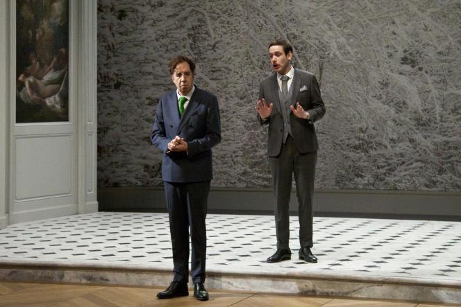Alceste (Gilles Privat) et Philinte (Pierre-François Garel) dans «Le Misanthrope», de Molière, mis en scène par Alain Françon.