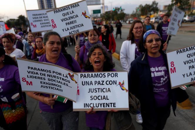 Lors de la journée internationale des droits des femmes, le 8 mars à Bogota.