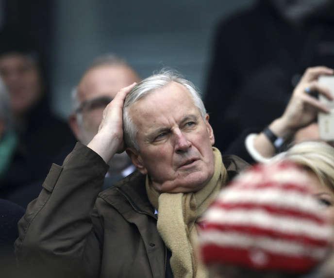 Michel Barnier assiste au match Irlande-France du Tournoi des six nations, à Dublin, le 10 mars.