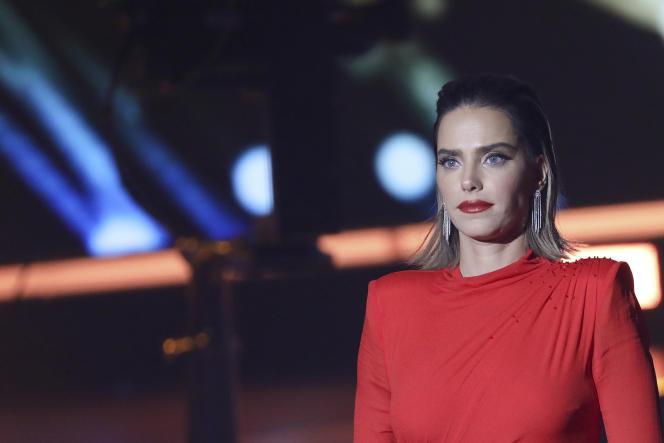 Rotem Sela, top model israélien, le 12 février 2019 lors d'un reality show à Jérusalem.