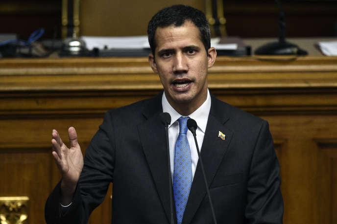Le chef d'Etat par intérim autoproclamé, Juan Guaido, le 11mars à Caracas.