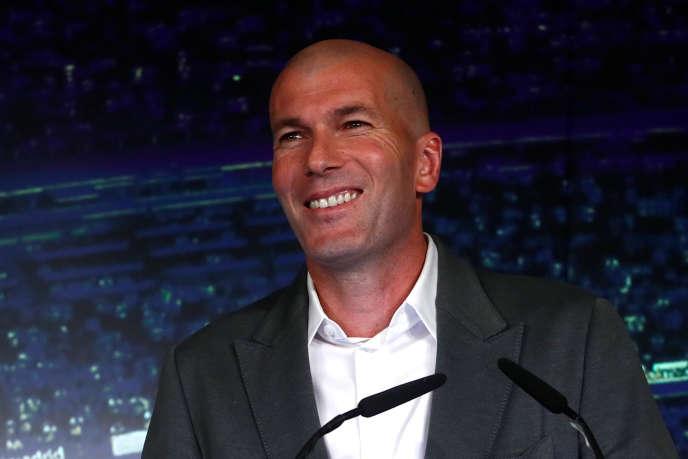 Zinédine Zidane lors de la conférence de presse officialisant son retour au Real de Madrid, le 11 mars 2019.