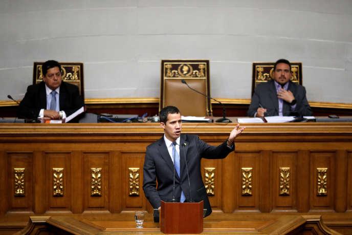 Juan Guaido, à l'Assemblée nationale vénézuélienne, le 11 mars.