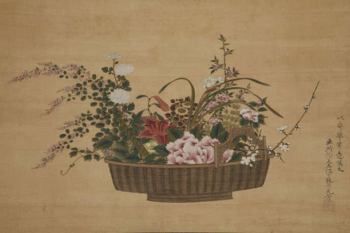 Tosa Mitsuyoshi, arrangement floral dans une vannerie chinoise, peinture sur soie (XVIIe siècle). Collection NAEJ.