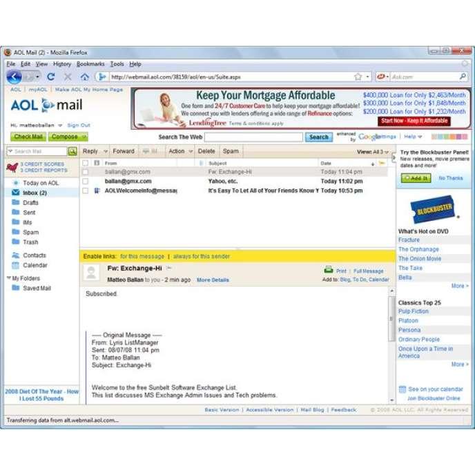 AOL Mail est accessible depuis un navigateur Mozilla. Dès la fin des années 1990, le Web se fait le portail des autres services Internet.