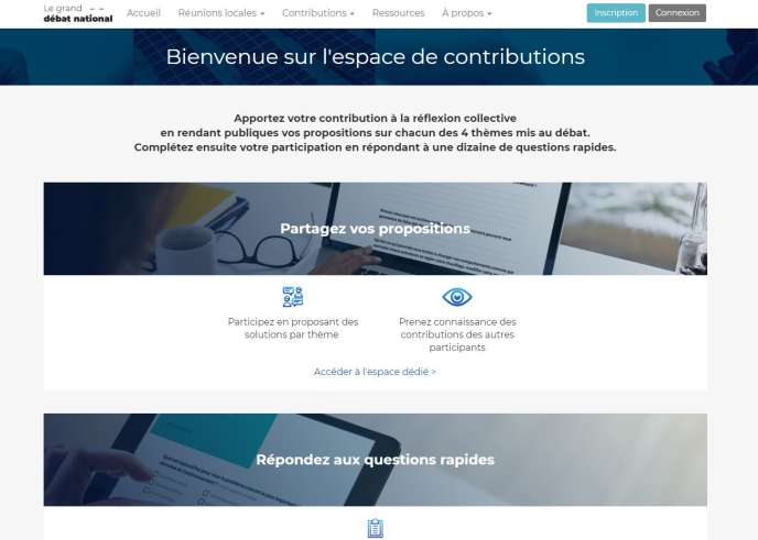 « Espace de contributions » du site officiel du grand débat national.