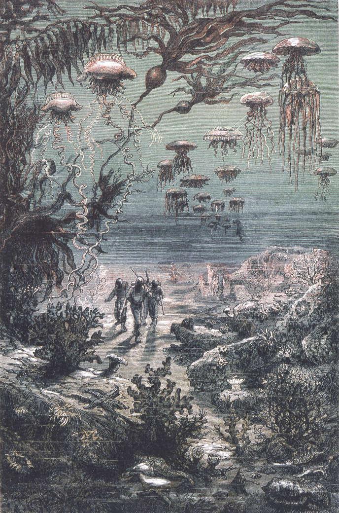 Illustration d'Alphonse de Neuville pour « Vingt mille lieues sous les mers », de Jules Verne (1869-1870).