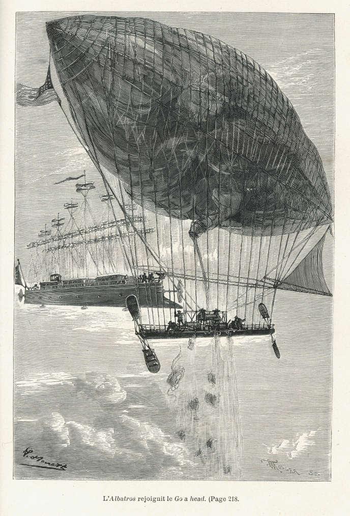 Illustration de Léon Benett pour « Robur le Conquérant », de Jules Verne (1886).
