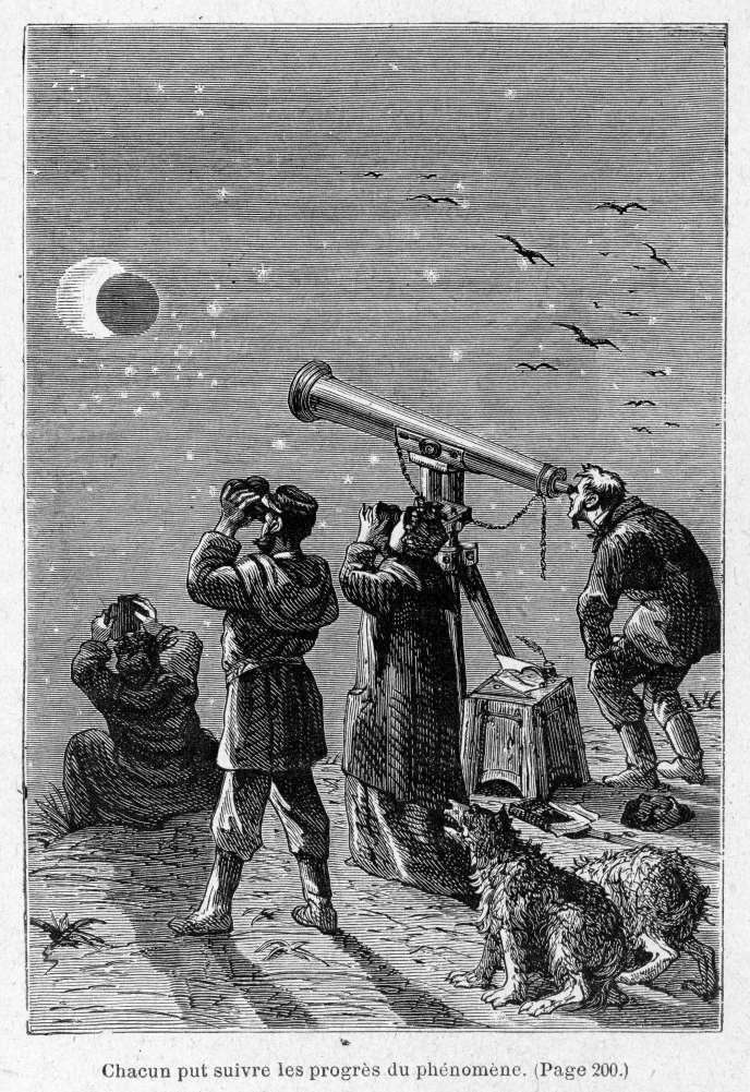 Illustration de Jules Férat et d'Alfred Quesnay de Beaurepaire pour « Le Pays des fourrures », de Jules Verne (1873).