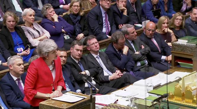 La première ministre britannique Theresa May devant le Parlement, à Londres, le 12 mars.