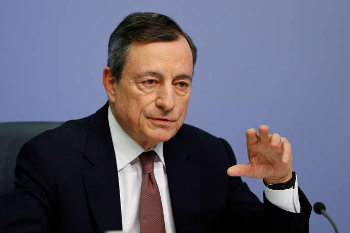 Mario Draghi, président de la Banque centrale européenne, au siège de l'institut de Francfort, le 7 mars 2019.