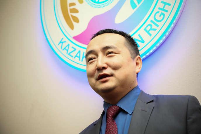 Serikjan Bilash, cofondateur de l'ONG AtaZhurt, à Almaty, en janvier.