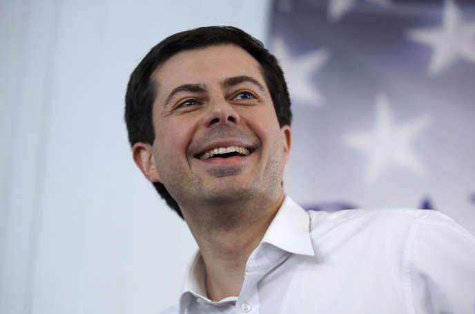 Le candidat républicain à la Maison Blanche, PeteButtigieg, lors d'une réunion électorale à Raymond(NewHampshire), le 16 février.