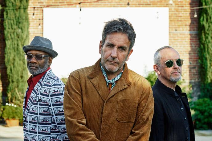 Lynval Golding,Terry Hall etHorace Panter, les trois membres du groupe anglais The Specials, à Londres, en septembre 2018.